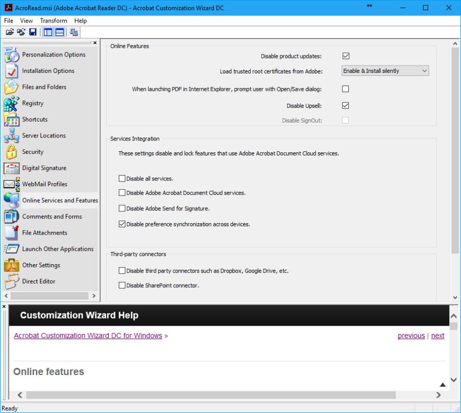 AdobeAcrobatReaderDC_Online ServicesandFeatures